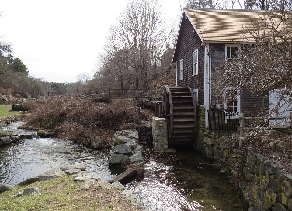 Grist Mill, Water Wheel, Countryside, Rural, Barn