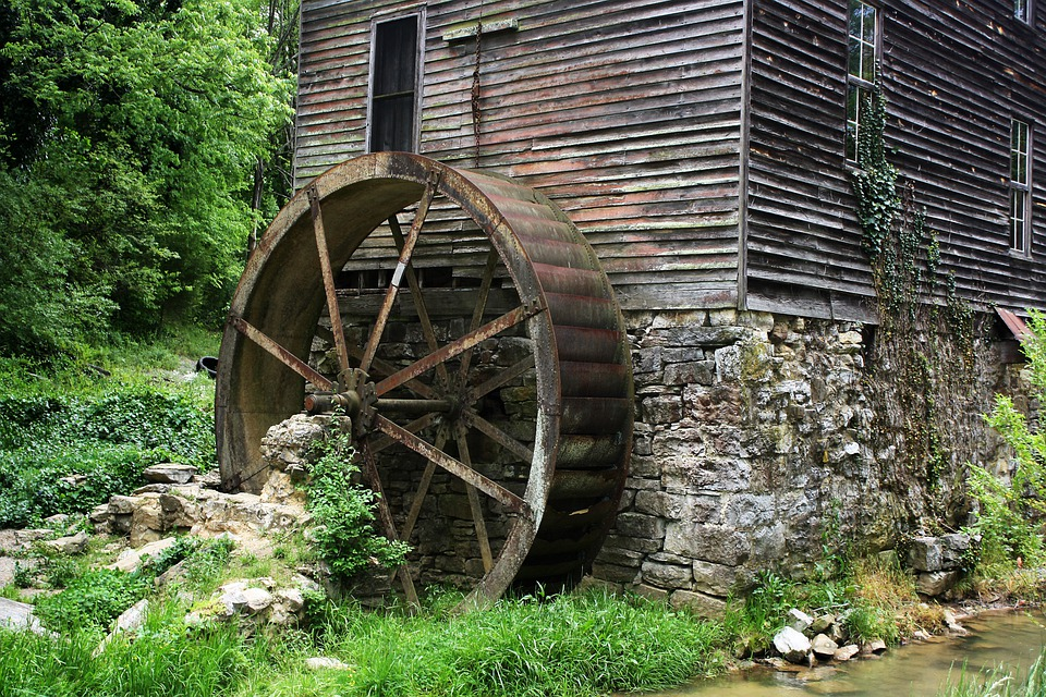 Mill, Gatlinburg, Tennessee, Building, Water Wheel