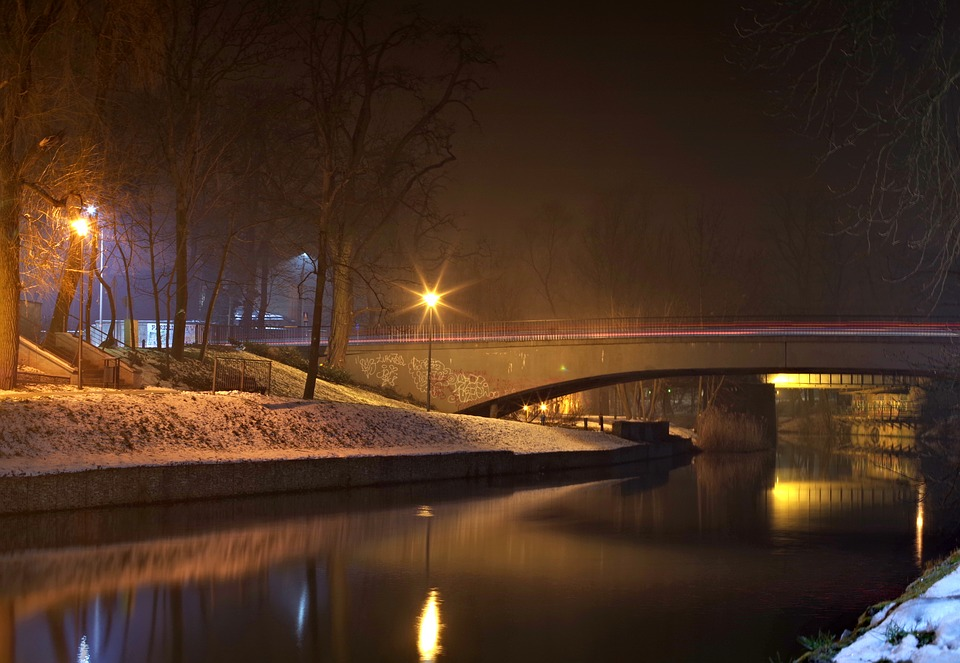 Bridge, Channel, Winter, Night, Leat, Opole, Water
