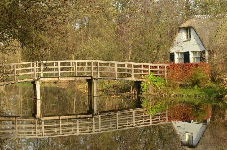 Bridge, Reflection, Water, House, Winter, Ankeveen