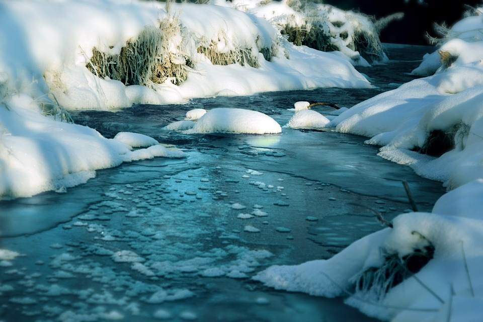 River, Water, Winter, Ice, Snow, Nature, Blue