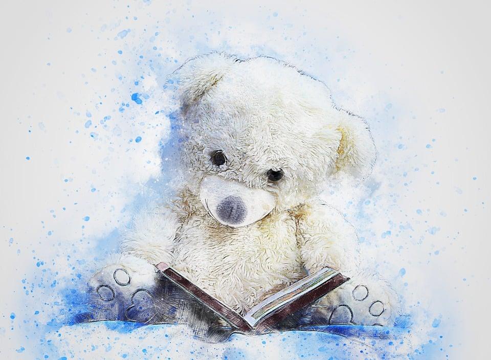 Teddy, Bear, Sitting, Art, Abstract, Watercolor