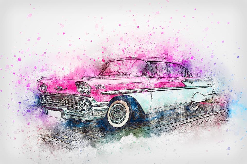 Car, Chevrolet, Oldtimer, Watercolor, Vintage, Auto