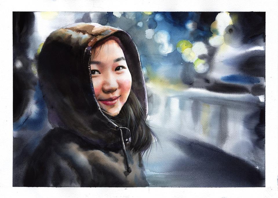 Watercolor, Watercolor Portrait, Portraits, Figure