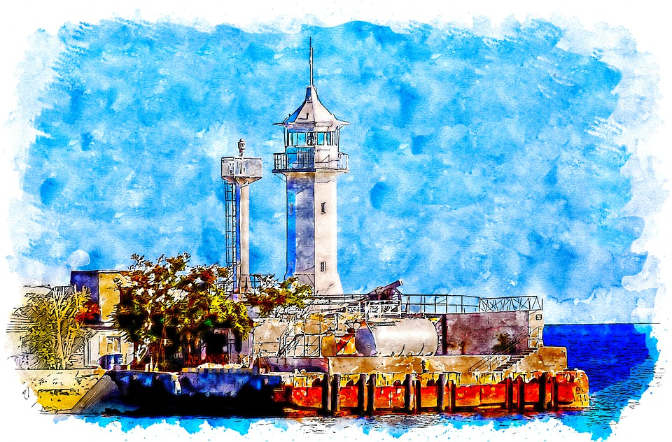 Yalta, Lighthouse, Crimea, Russia, Watercolor, Style