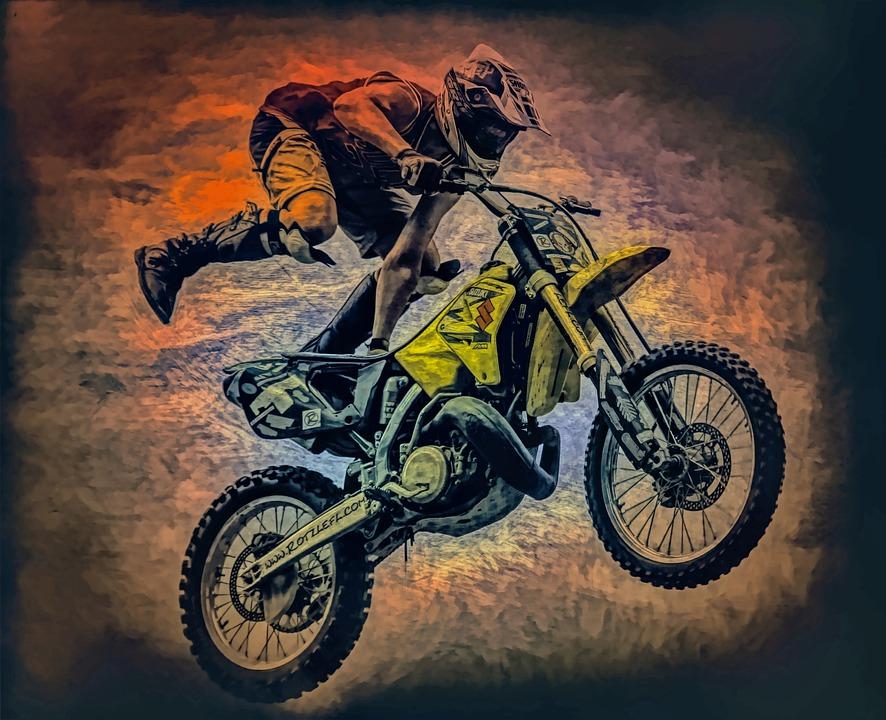 Art, Photo Art, Painting, Watercolor, Motocross