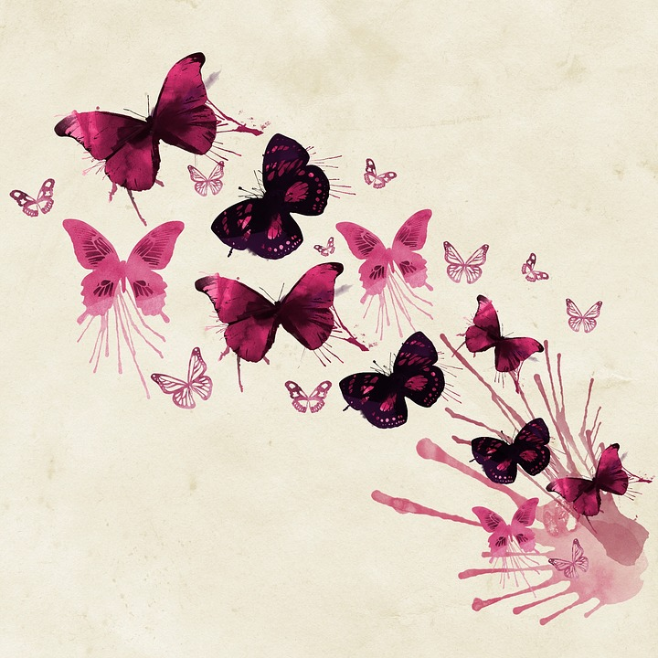 Free Photo Watercolor Pink Creative Butterflies Background