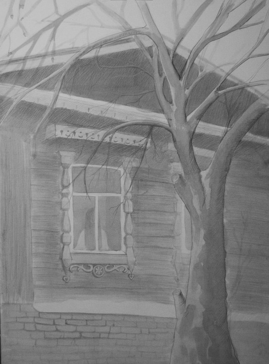 Figure, Tree, Watercolor, Pencil, Trees, Winter