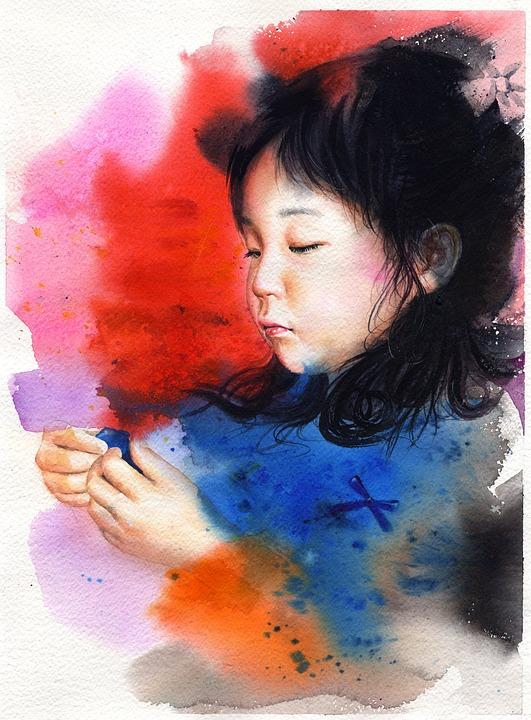 Watercolor Portrait, Watercolor, Portraits, Children