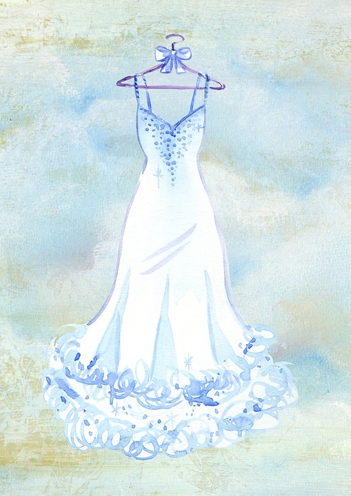 Dress, Wedding, Watercolor, Clouds, Romantic, White
