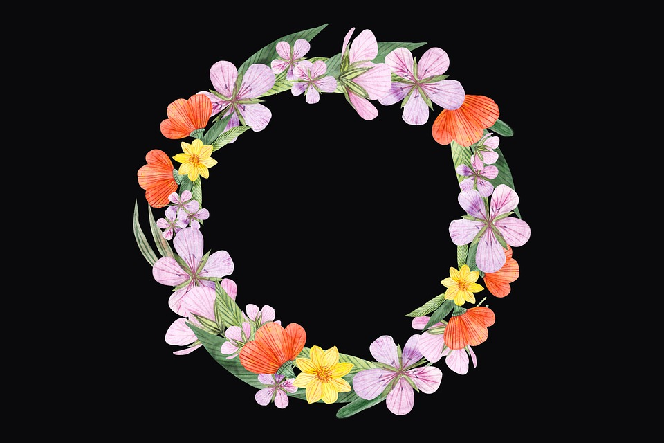 Wreath, Flowers, Floral, Bloom, Blossom, Watercolor