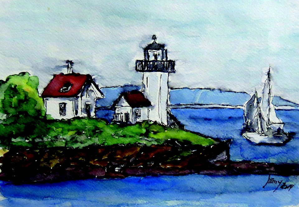 Watercolour, Lighthouse, Painting