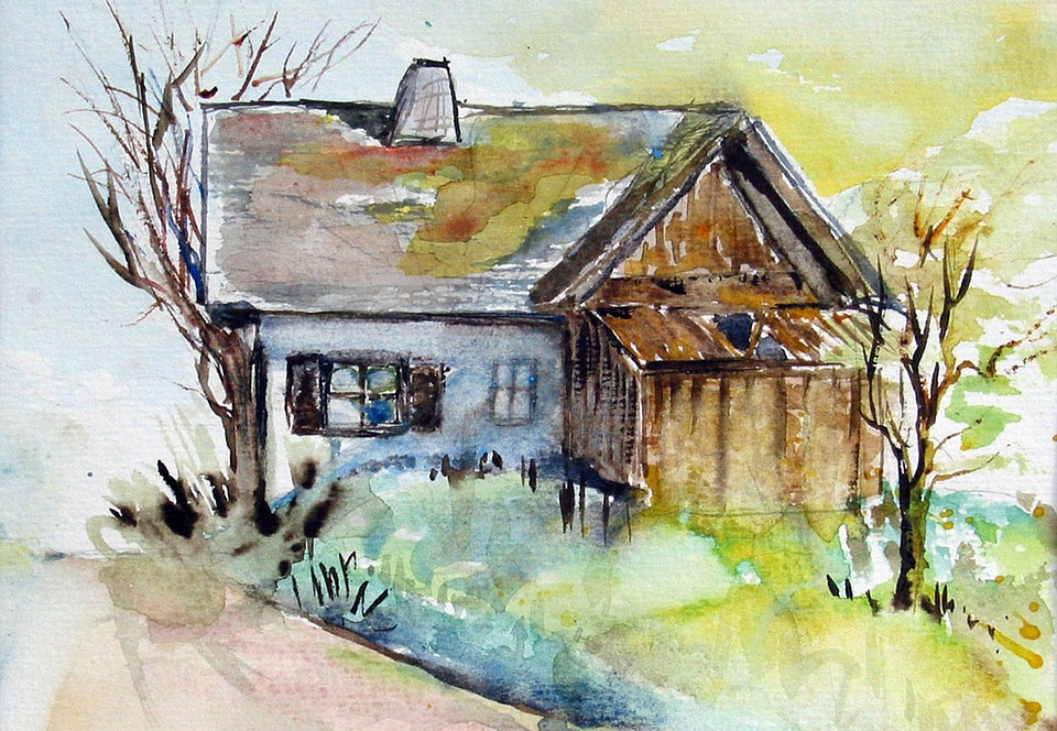 Old House, Watercolour, Painting