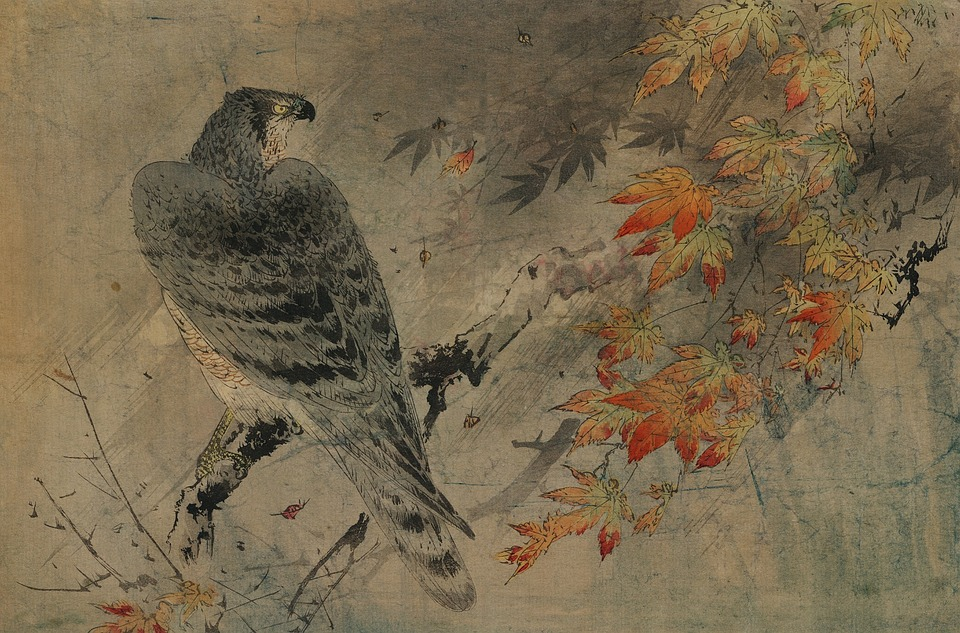 Vintage, Japanese, Watercolour, Watercolor, Painting