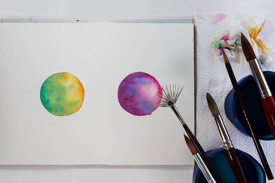 Color Circle, Watercolour, Orange, Green, Pink, Violet