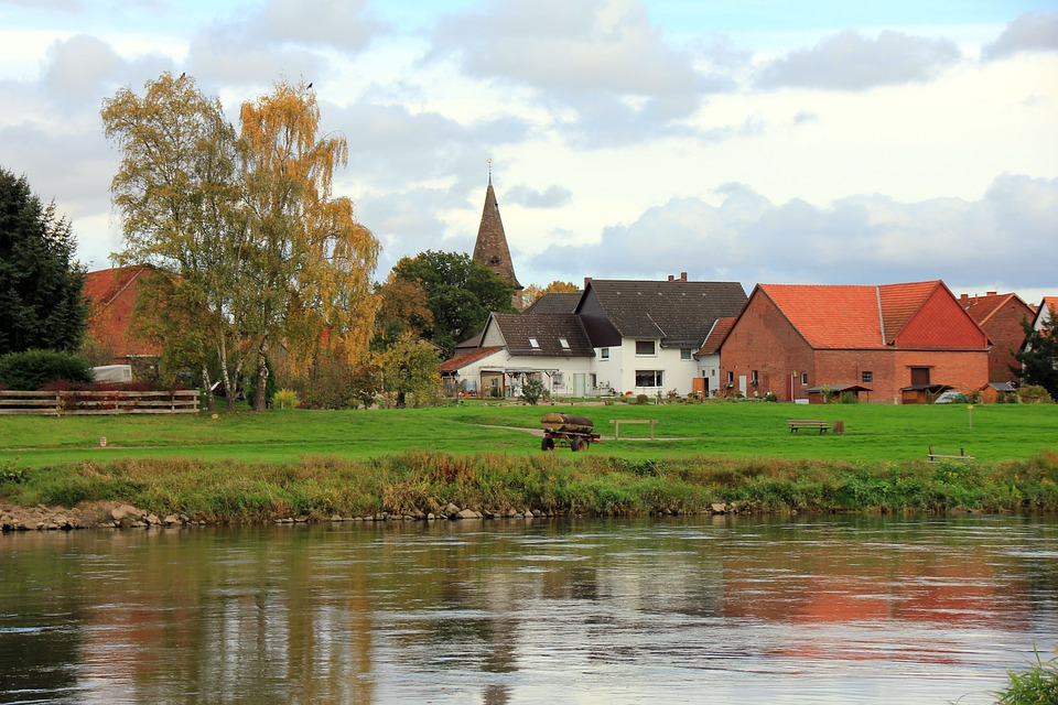City, Village, River, Water, Watercourse, Weser