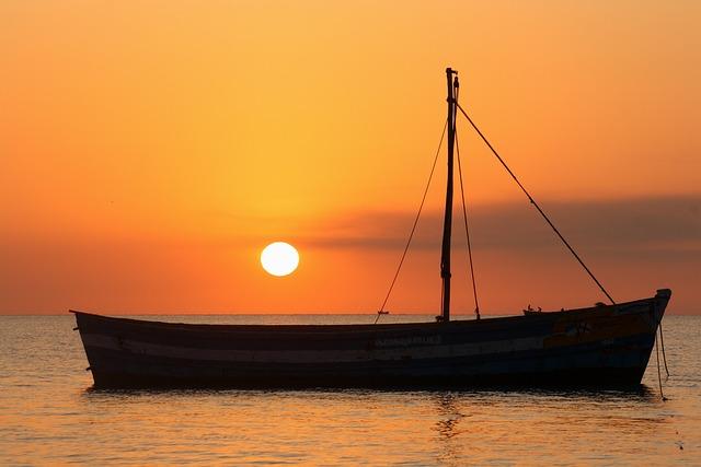 Sea, Water, Sunset, Ocean, Dawn, Watercraft
