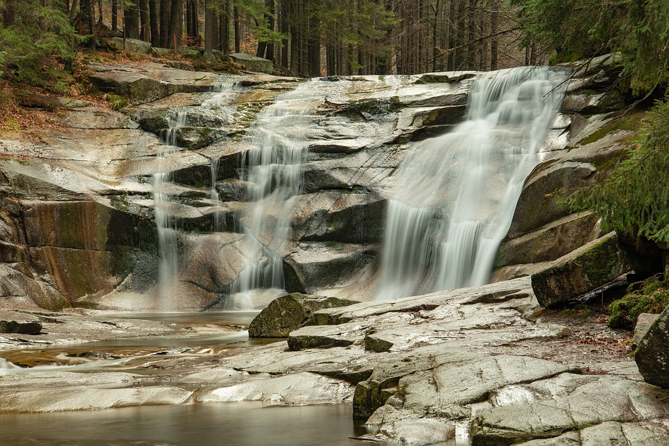 Waterfall, Autumn, Forest, Stones, Water-level, Stream