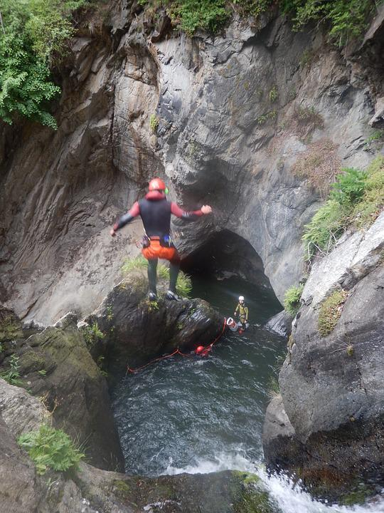 Canyoning, Jump, Water, Sport, High, Deep, Waterfall