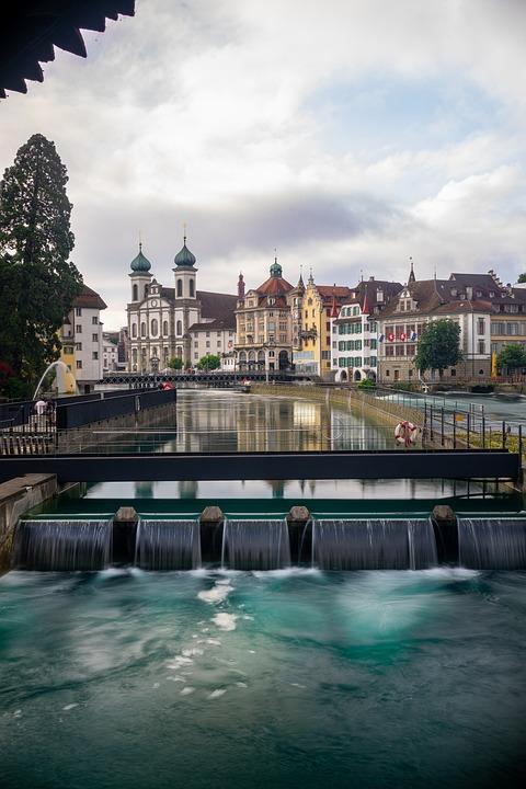 Waterfall, Cityscape, Switzerland, Lucerne, City, Swiss