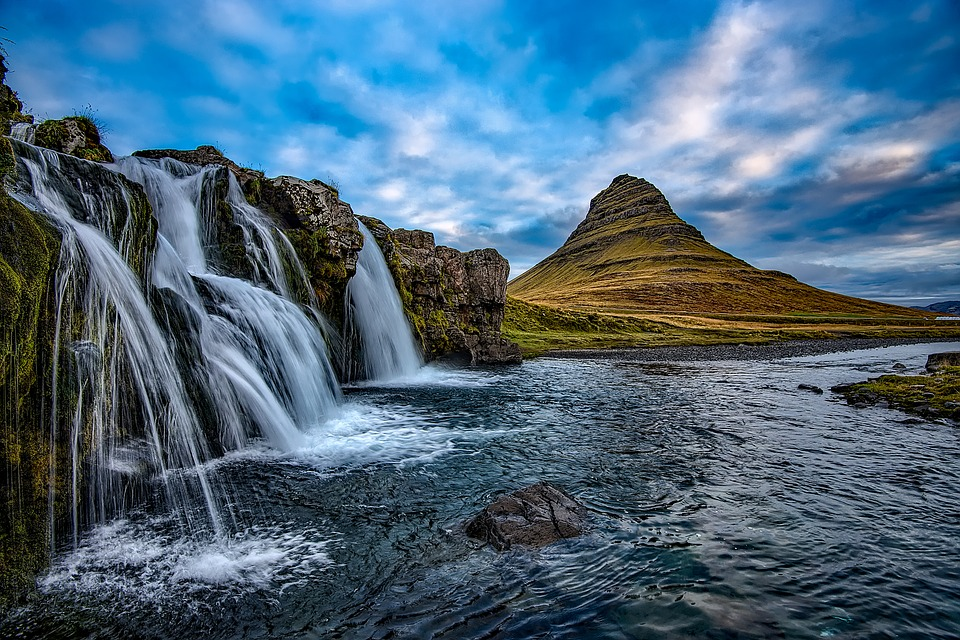 Iceland, Sky, Clouds, Sunset, Waterfall, Falls