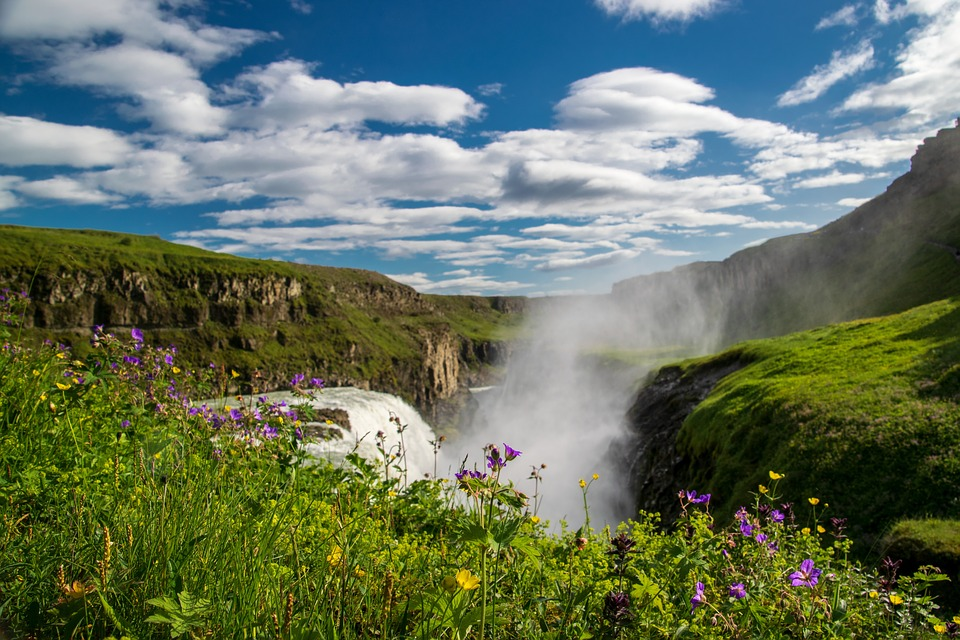 Waterfall, Fog, Iceland, Water, Nature, Landscape