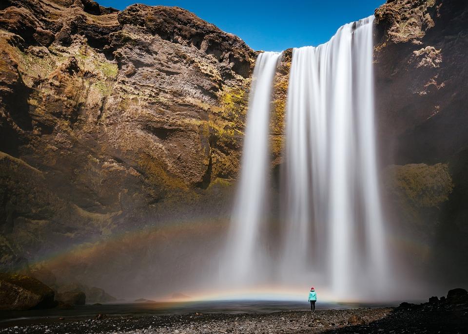 Waterfall, Hill, Rocks, Water, Blue, Sky, Nature