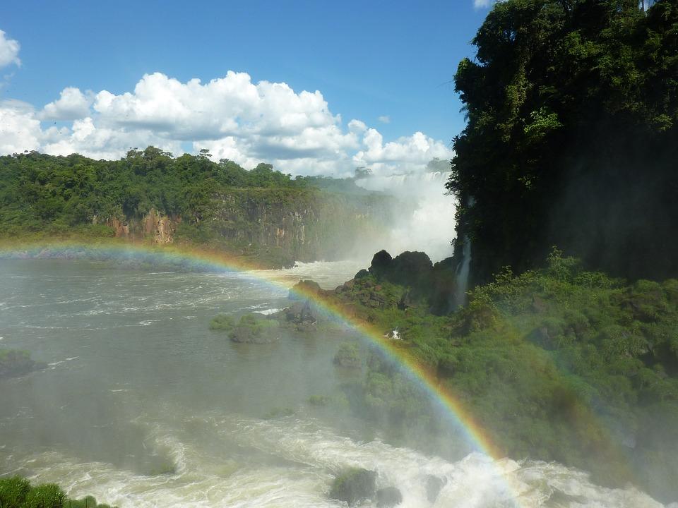 Argentina, Iguazu, Rainbow, Waterfall