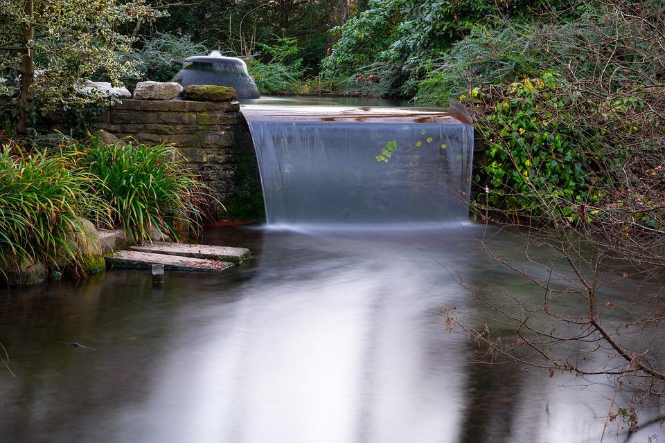 Waterfall, Flow, Pond, Japanese Garden, Water, Waters