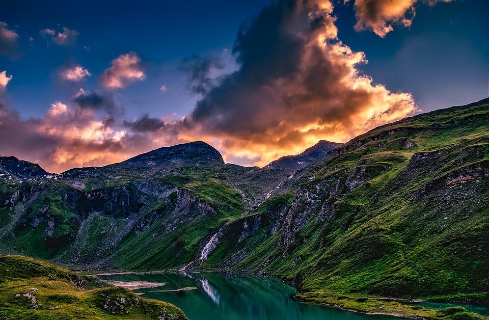 Austria, Mountains, Valley, Ravine, Lake, Waterfall