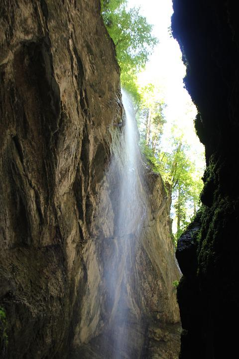 Waterfall, Bust, Water, Mountains, Rock