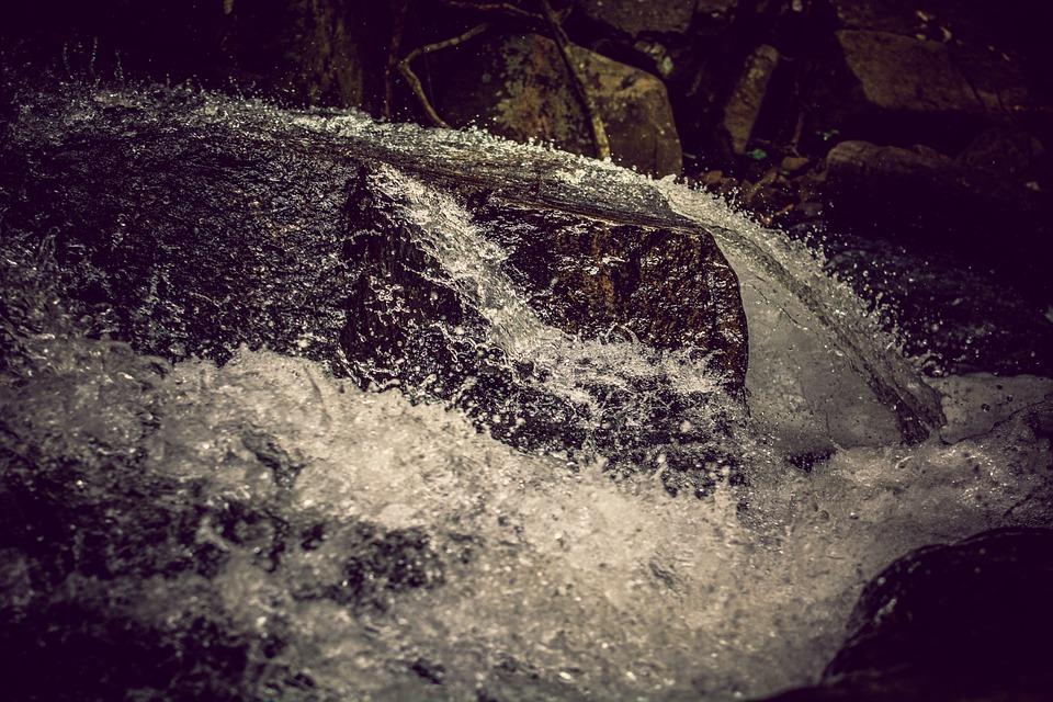 Waterfall, Stones, Mountains, Water, Rock, Nature