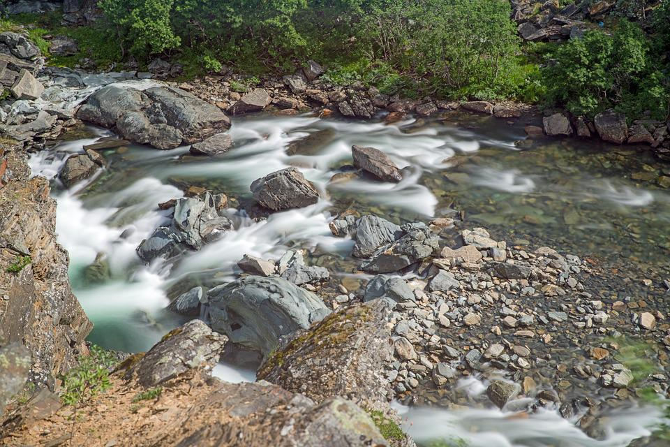 Sweden, Fjäll, Landscape, Nature, Water, Waterfall