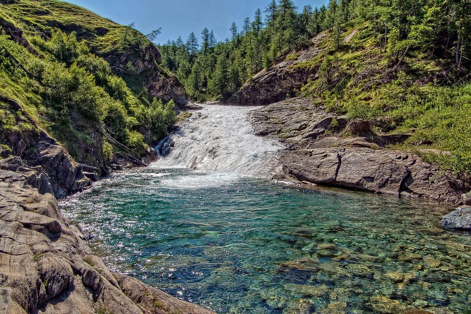River, Waterfall, Torrent, Mountain, Alps