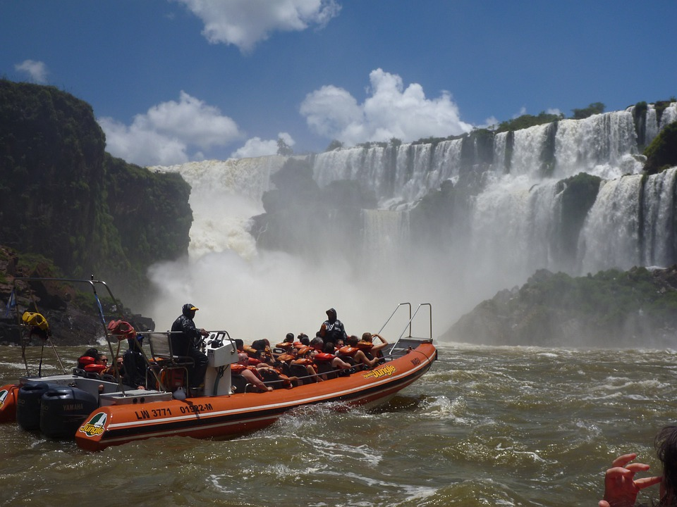 Falls, Waterfall, Boat, Argentina, Tour Boat, Tourists