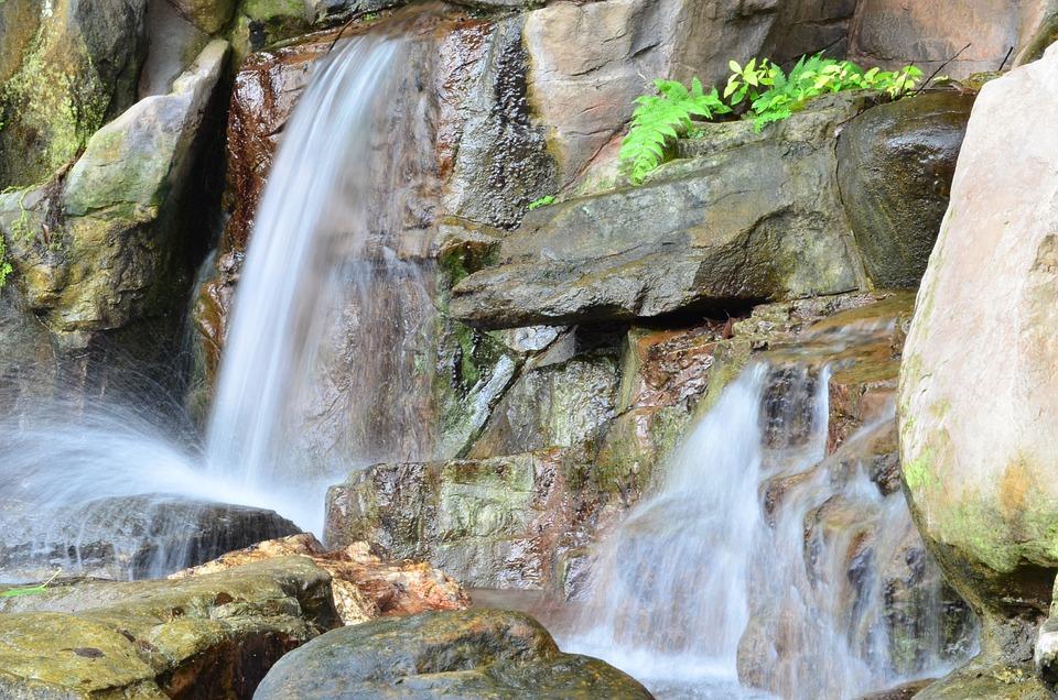 Waterfall, Rocks, Trail Of Water