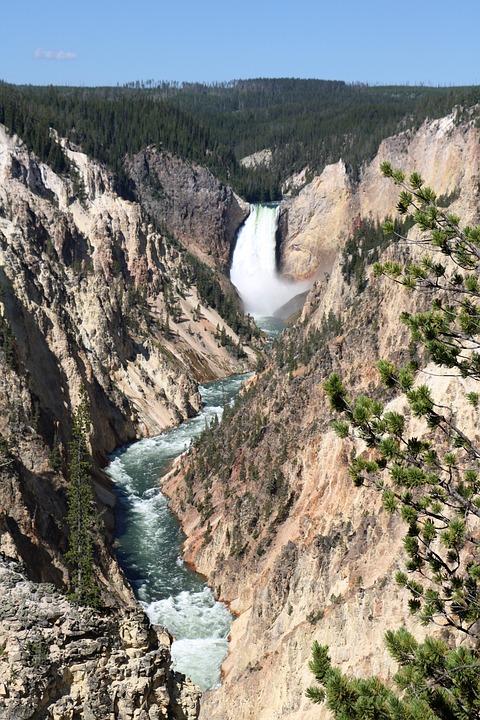 Yellowstone, Valley, Waterfall, Scenic, Landscape