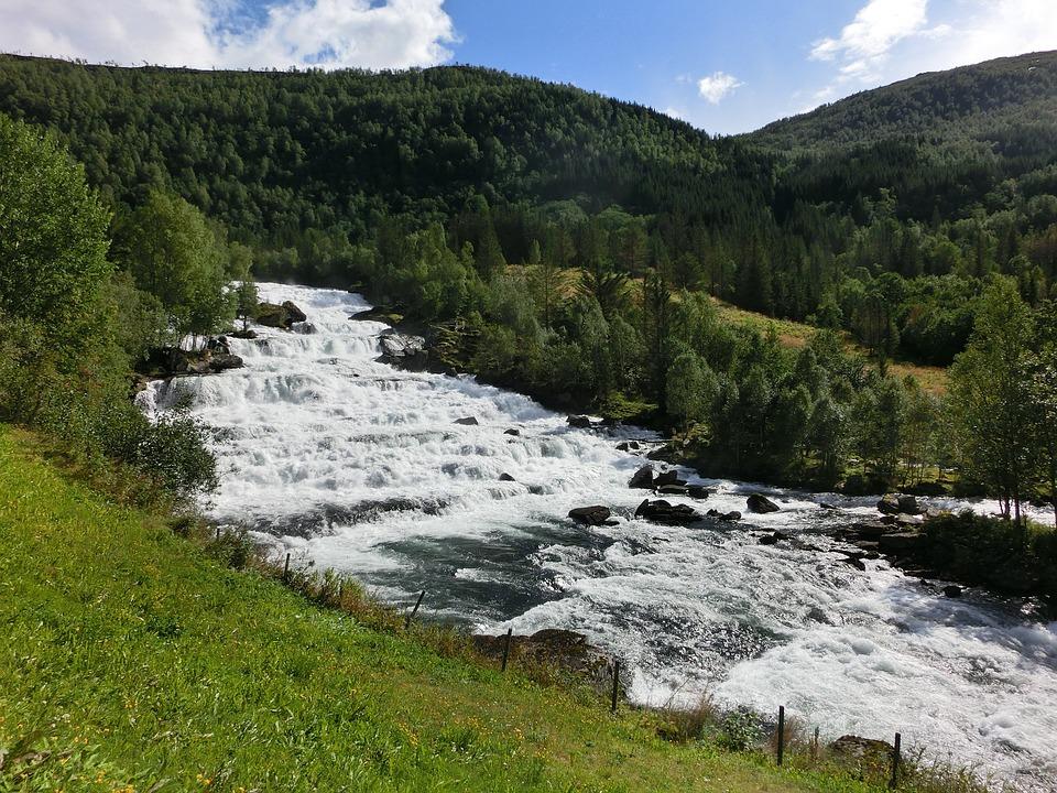 Waterfall, Norway, Rock, Wild, Gradually, Murmur, Roar