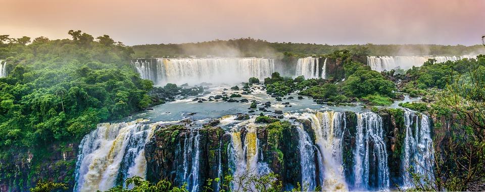 Waterfalls, Landscape, Trees, Forest, Rainforest, Falls