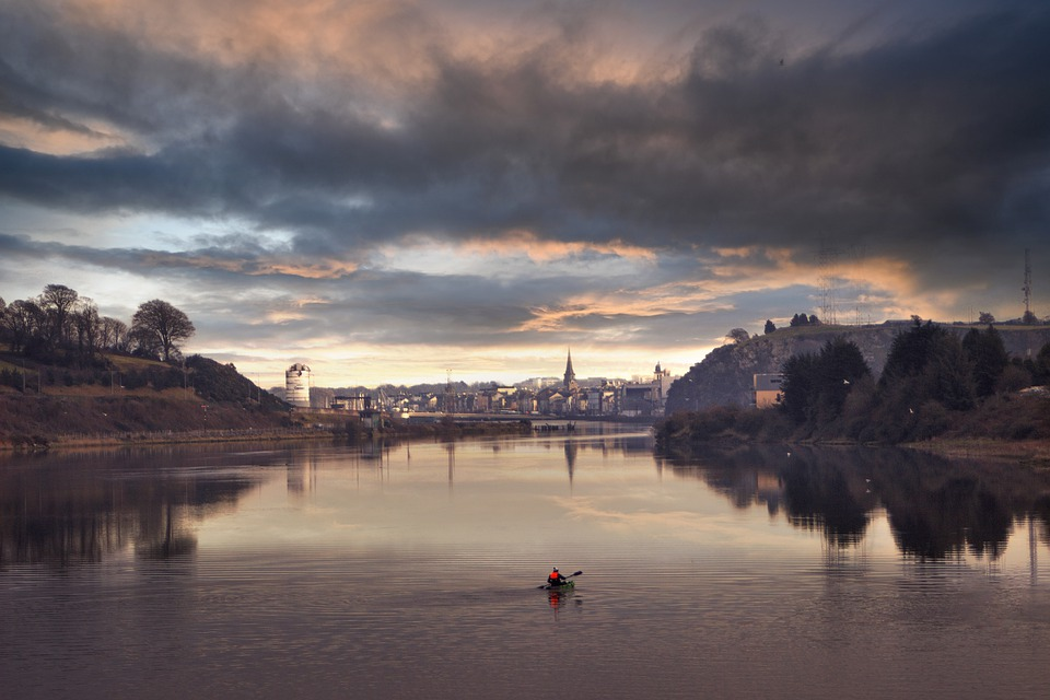 Waterford, City, River, Water, Canoe, Rowing