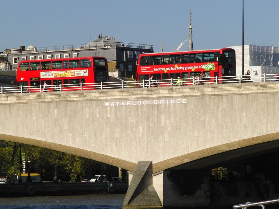 Waterloo Bridge, London, Buses, Bridge, British