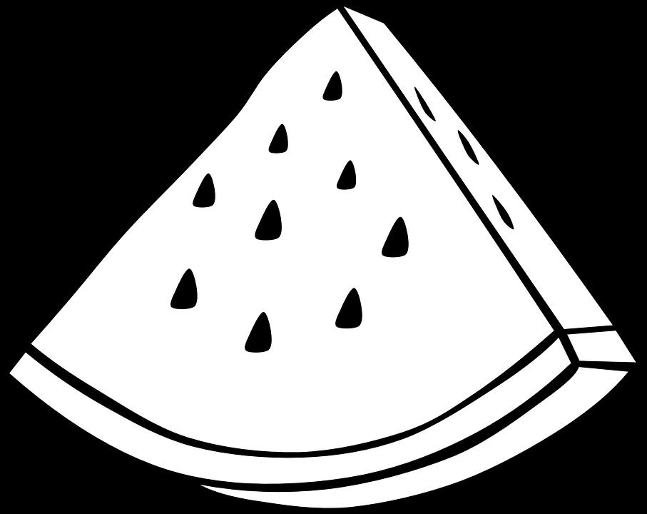 Watermelon, Black And White, Fruit, Slice, Edible