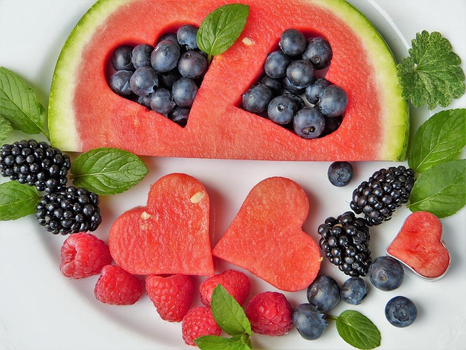 Watermelon, Berries, Fruits, Heart, Blueberries