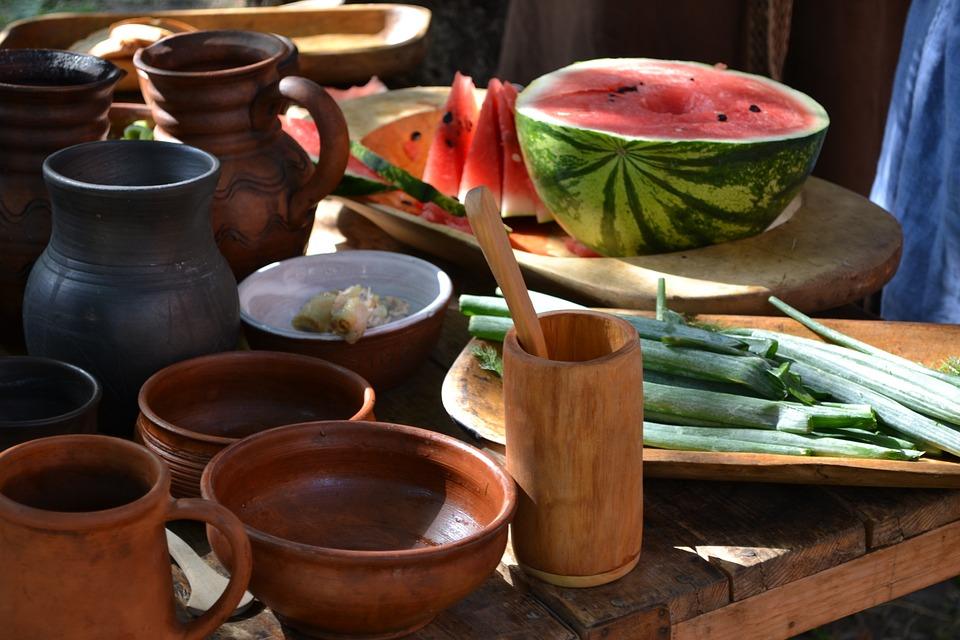 Watermelon, Fruit, Vegetables, Table, Tableware, Food