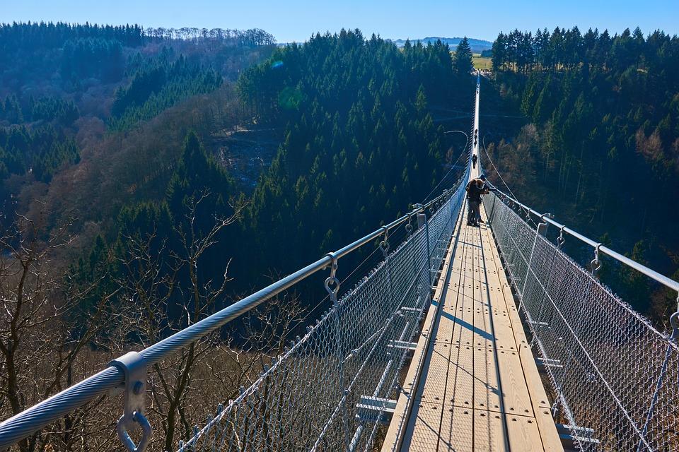 Travel, Bridge, Sky, Nature, Mountain, Wood, Waters