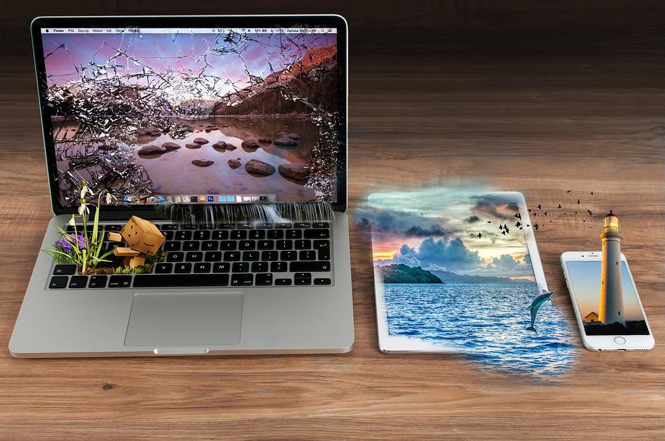 Background, Waters, Computer, Laptop, Ocean, Collage