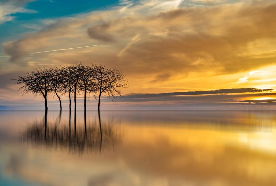 Sunset, Waters, Dawn, Dusk, Sun, Reflection, Landscape