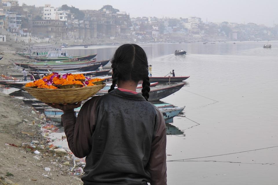 Human, Waters, Ganges, India, Varanasi, Girl