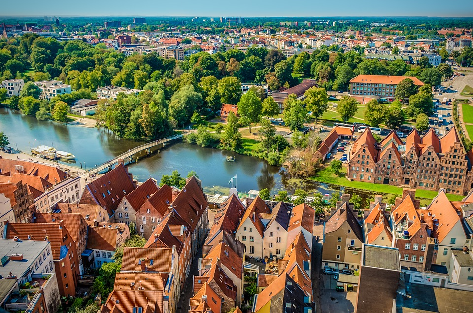 Lübeck, Aerial View, Waters, Water, Roofs, Houses
