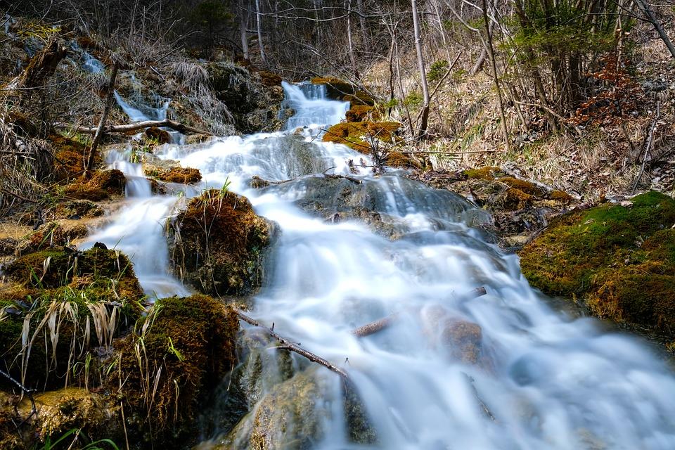 River, Waters, Waterfall, Nature, Wood, Rock, Movement